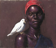 Horizontal Pastels - Woman and Dove by L Cooper