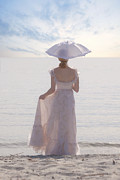 Umbrella Posters - Woman At The Beach Poster by Joana Kruse