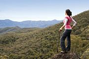 Tim Hester Prints - Woman Hiker in Mountains Print by Tim Hester