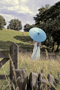 Turquoise Posters - Woman In Country Field Poster by Christopher and Amanda Elwell