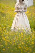 Jewellery Framed Prints - Woman In Victorian Dress In A Buttercup Meadow Framed Print by Lee Avison