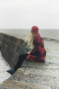 Gloomy Photo Prints - Woman On Pier Print by Joana Kruse