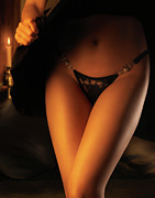 Allure Photo Prints - Woman Wearing Black Lacy Panties Print by Oleksiy Maksymenko