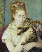 Ring Painting Posters - Woman with a Cat Poster by Pierre Auguste Renoir