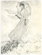 Impressionist Drawings Posters - Woman with a Parasol Poster by Claude Monet