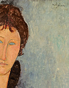 Brunette Prints - Woman with Blue Eyes Print by Amedeo Modigliani