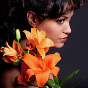Pretty Brown Eyes Posters - Woman With Lily Flowers Poster by Artur Bogacki