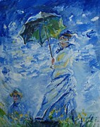 Monet Drawings Framed Prints - Woman with parasol Framed Print by Eric  Schiabor