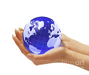 Blue Glass World Prints - Womans Hands Holding An Earth Globe Print by Leonello Calvetti