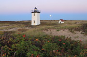 Cape Cod Metal Prints - Wood End Lighthouse Cape Cod Moonrise Metal Print by John Burk