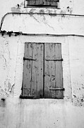 Old Stone House Photos - Wooden Window Shutters On Old Historic Stone House Mont-louis Pyrenees-orientales France by Joe Fox