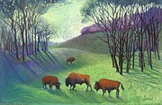American Bison Pastels Originals - Woodland Bison by Jane Wilcoxson