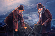 Masculine Painting Originals - Working the Nets by Corey Ford