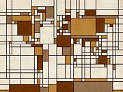 World Map Abstract Mondrian Style Print by Michael Tompsett