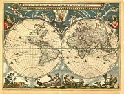 Vintage Map Digital Art Metal Prints - World Map Metal Print by Gary Grayson