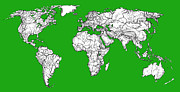 World Map Print Drawings - World map in green by Lee-Ann Adendorff