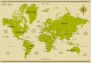 Map Art Digital Art Prints - World Map Print by Jazzberry Blue