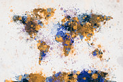 Map Art Digital Art Prints - World Map Paint Splashes Print by Michael Tompsett