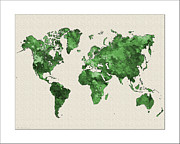 Watercolor Map Paintings - World Map Watercolor by WaterColorMaps Chris and Mary Ann