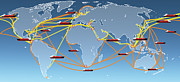 Virtual Network Originals - World Shipping Routes Map by Atiketta Sangasaeng
