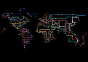 World Map Print Digital Art - World Tube / Subway / Metro Map by Stephen Gowland