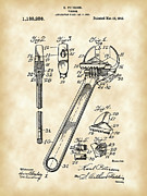 Parchment Framed Prints - Wrench Patent Framed Print by Stephen Younts