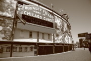 Murals Prints - Wrigley Field - Chicago Cubs Print by Frank Romeo
