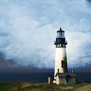 Painterly Framed Prints - Yaquina Head Light Framed Print by Carol Leigh