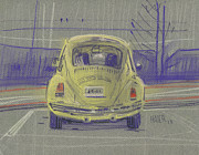 Beetle Paintings - Yellow Beetle by Donald Maier
