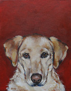 Gold Labrador Paintings - Yellow Lab by Julie Dalton Gourgues