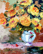 Oil Mixed Media - Yellow Roses Still Life by Ginette Callaway