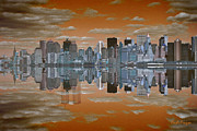 Nyc Pyrography Prints - Yesterday Reflexions Print by Coqle Aragrev