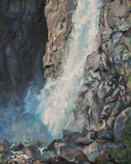 Yosemite Paintings - Yosemite Fall by Kerima Swain
