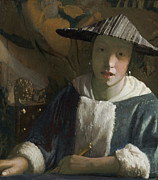 Visage Posters - Young Girl with a Flute Poster by Jan Vermeer