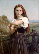Young Lady Digital Art Prints - Young Shepherdess Print by William Bouguereau