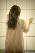 Nightgown Prints - Young Woman in Nightgown by Window Print by Jill Battaglia