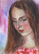 Girl Looking Down Posters - Young woman watercolor portrait painting Poster by Svetlana Novikova