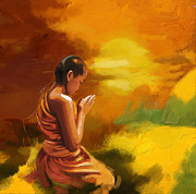 Prayer Painting Originals - Zen by Corporate Art Task Force