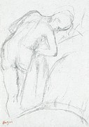 Impressionist Drawings Posters - After the Bath Poster by Edgar Degas