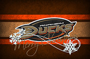 Puck Framed Prints - Anaheim Ducks Framed Print by Joe Hamilton