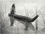 Canoe Drawings Metal Prints - Canoe of Tules Metal Print by Charles Rogers