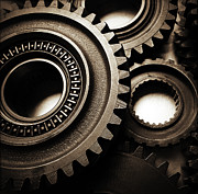 Engineering Prints - Cogs Print by Les Cunliffe