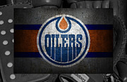 Christmas Doors Framed Prints - Edmonton Oilers Framed Print by Joe Hamilton