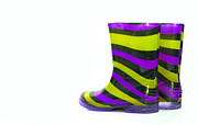 Industrial Background Posters - Multi Coloured wellington Boots on white with copy space Poster by Fizzy Image