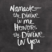 Calligraphy Mixed Media Prints - Namaste Print by Linda Woods