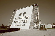 Outdoor Theater Metal Prints - Route 66 - Drive-In Theatre Metal Print by Frank Romeo