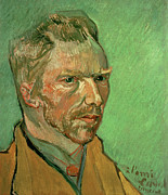 Green Background Posters - Self Portrait Poster by Vincent Van Gogh