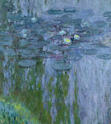 Lily Pad Framed Prints - Waterlilies Framed Print by Claude Monet