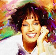 Lavers Framed Prints - Whitney Houston Framed Print by Bogdan Floridana Oana