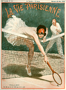 Womens Tennis Drawings Framed Prints - 1920s France La Vie Parisienne Magazine Framed Print by The Advertising Archives